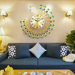 NEOTEND Modern Wall Clock Peacock Non Ticking Large Decorative Wall Clock for $37.41