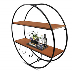 WRAPACK 2 Tier Wall Mounted Storage Shelves with Hooks 24 inches Round Wall for $24.66