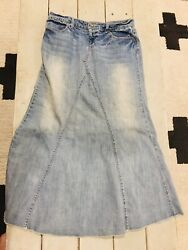 Maurices Long Jean Skirt size 9 10 Denim Fade Wash EXCELLENT $29.99