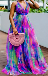 Multi Colored Summer Beach Casual Daytime Party Plus Size Maxi Dress $60.00