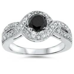 1ct Womens Pave Halo Trated Black Diamond Engagement Ring 14K White Gold $655.19