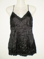 New Sexy Black Sleeveless Crinkle Party Tunic Top Size 14 GBP 11.00
