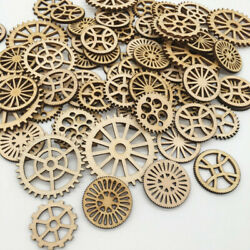 50Pcs Unfinished Gear Wooden Mixed Shaped for DIY Living Room Bedroom Wall De Uf C $4.23