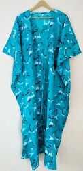 Indian Turquoise Long Leaf Printed Cotton Plus Maxi Women Cover up Caftan Dress $24.99