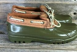 SPERRY Rubber Boots Womens Size 8 Waterproof Duck Green STS90786 $27.95