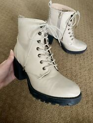Tan lace up zip up high heel boots Size 8 $30.00