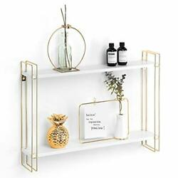 Floating Shelf 2 Tier Wall Mount Shelves for Modern Wall White and Gold $37.50