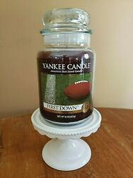 Yankee Candle FIRST DOWN 22 oz Jar Rare amp; Hard to Find Man Candle Collection $124.99