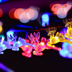 16ft Outdoor Strings Solar Light ELK Shaped 20 LED for Christmas Party Home Lawn
