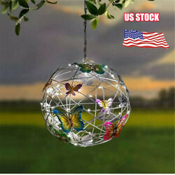 Hanging Solar Light Mesh Orb with Colorful Butterflies Outdoor Decorative Garden $16.59
