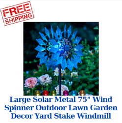 Large Solar Metal 75quot; Wind Spinner Outdoor Lawn Garden Decor Yard Stake Windmill