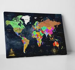 Framed Wall Art for Living Room Extra Large Wall World Map Home Office $63.99