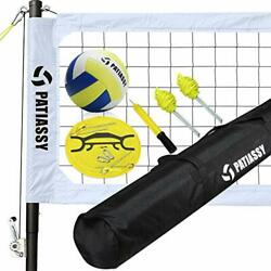 Portable Outdoor Volleyball Net Set with Height Adjustable Poles Winch White $231.52