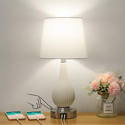 Touch Control Ceramic Table Lamp with USB Charging Ports Dimmable Modern Lamp $37.95