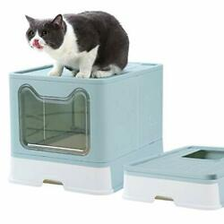 Cat Litter Box Foldable Top Entry Covered Cat Litter Box with Lid Easy blue $88.23