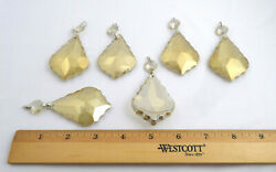 6 Maria Theresa Chandelier Parts Amber Gold Cut Crystal Glass Prisms 3 1 2quot; Long $29.95