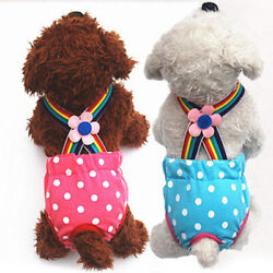 Dog Female Puppy Polka Dots Suspender Diaper Pants Physiological Sanitary Panty $9.74
