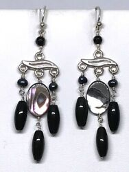 New RARE Studio Barse Sterling Onyx Abalone Pearl Chandelier Earrings Gorgeous $23.99