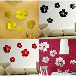 5 Gold Flowers Crystal 3D Wall Sticker Mirror Stickers for TV Wall Living Room $7.19