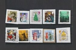 GB H V Xmas Commemoratives x 10 Diff used on trimmed paper as Scan actual stamps GBP 1.29