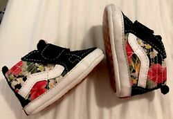 Vans Off The Wall Baby Infant Soft Sole Crib Shoes Hawaiian Floral size 2 Black $12.99