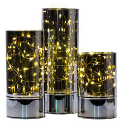 Glass Cylinder Lanterns with Fairy Lights Battery Operated FlamelessSet of 3 $45.99