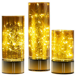 Glass Cylinder Lanterns with Fairy Lights Battery Operated Flameless Candles $42.99