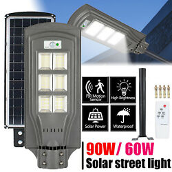 Solar LED Street Light Commercial Outdoor IP65 Security Road Lamp w Remote W9A7