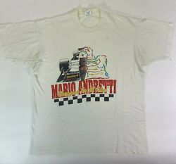 Vintage Mario Andretti Champion for all time Racing Race 1990s Big Print t shirt $25.00