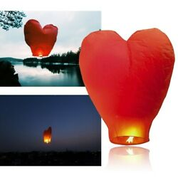 Red Heart Chinese Lanterns Paper Wish Lamp Candle Christmas Wedding Party Decor $18.98