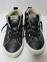 Converse All Star Boys Black Leather size 2 Pre owned $10.00