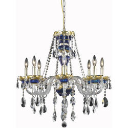 ASFOUR CRYSTAL CHANDELIER BLUE AND GOLD KITCHEN ISLAND DINING ROOM FOYER 8 LIGHT $1666.02