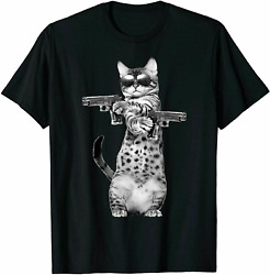 Kitty With Gun Funny Cat T Shirt Vintage Gift For Men Women Funny Tee $7.99