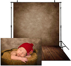 Allenjoy 5x7ft Soft Fabric Brown Wall with Wooden Floor Photography Backdrop New $23.76