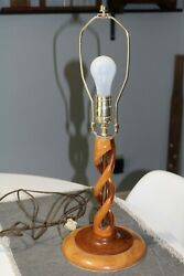 Unusual Homemade Crafted Wood Art Lamp with Twisted Design $30.00