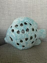 Blue Teal Ceramic Fish for the Beach House Bathroom Child's Room 5 1 2 X 9 in. $29.98