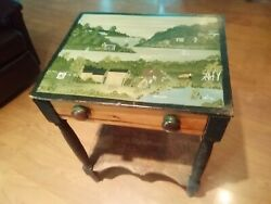Old Vintage Folk Art Hand Painted Antique Table Purchased in Rhode Island 1980s $449.90