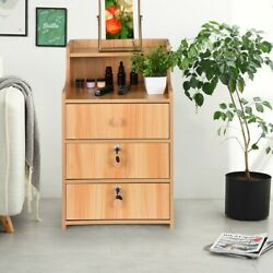 Simple End Table Bedroom Nightstand Coffee Table 3 Drawer With Lock Cabinet USA $59.99
