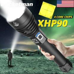 Brightest 300000LM XHP90 LED Flashlight Rechargeable Zoom Torch 18650 3Modes $26.99