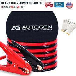 NEW Heavy Duty Jumper Booster Cables Commercial Grade Battery 1Gauge 25FT 900A