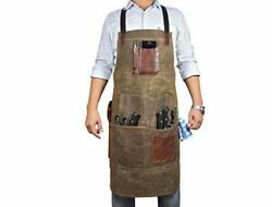 One Size Fits Utility Apron Adjustable Cross Back Straps Canvas Green $44.89