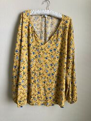 Womens Yellow With blue flowers blouse size 2X Old Navy $13.00