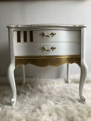 Vintage Nightstand Refurbished in Shabby Chic Style Solid Wood Excellent Cond $429.00