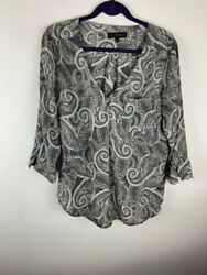 Fred David Womens Top Size Large Tunic Gray Button Front 3 4 Sleeve $18.99