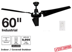 Industrial Ceiling Fan Commercial Indoor Outdoor 60″ With Remote Control Black