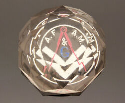 Antique Masonic Paperweight Faceted Glass with Compass G Emblem Inside Glass $45.00
