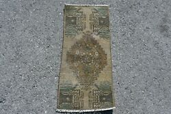 Vintage Rug Small RugTurkish RugHome Carpet 17x37 inches Brown Carpet 10198 $36.00
