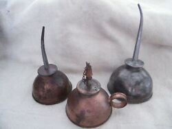 3 Vintage Handy Oiler Tin Oil Cans thumb pump collection $6.50