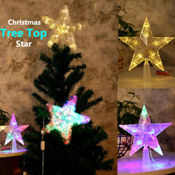 LED Tree Topper Star Christmas Decorations Top Xmas Star Light Up Glitter Gift $9.49