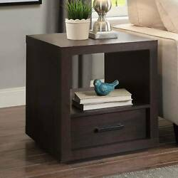 Espresso End Table With Drawer Contemporary Table Living Room Office Bedroom NEW $84.90